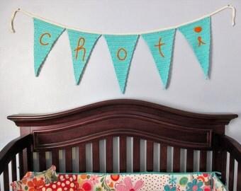 Crocheted Nursery Name Banner {Custom}