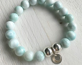 Beaded larimar bracelet with sterling silver crescent moon charm