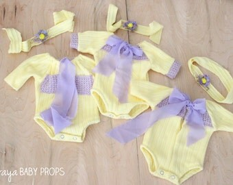 Newborn Rompers,  Baby Rompers,Yellow Rompers, Easter Props, Spring Rompers,Newborn Photography,Baby Props,Baby Rompers,by Zoraya Baby Props