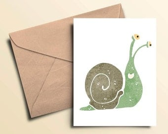 Happy Snail Note Cards - Set of 10 With Envelopes