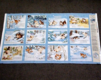 Fabric baby book. Kids book fabric panel. Rabbit quilting squares. Soft book panel. Childrens fabric book panel. Puppy. Dog. Snow Lisa McCue