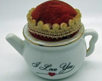 Vintage China  Pin Cushion Teapot Pin Cushion    Made In Japan  I Love You Sewing Lover Gift Idea  Craft Supplies