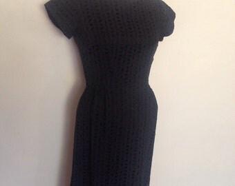 1950's Black Eyelet Dress