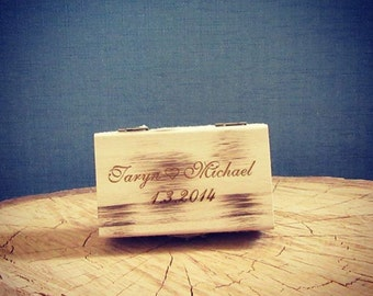 Personalised, wooden ring box (Rectangle with lace) vintage wedding accessories