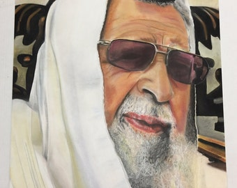 28 x 44 Illustratiom of Rabbi Ovadia Yosef Chalk Pastel Made in Mexico