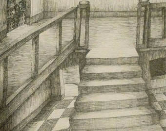 """Original Pen & Ink Drawing, """"Up or Down"""", 11"""" x 14"""""""