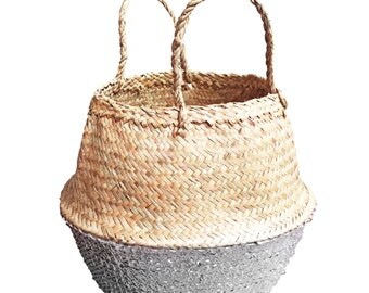 Basket of sea grass with sequins