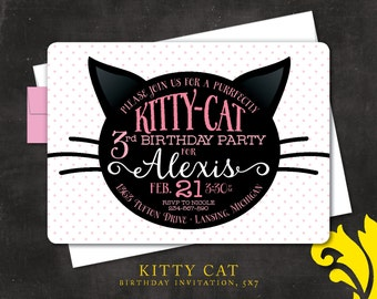 KITTY CAT . birthday invitation