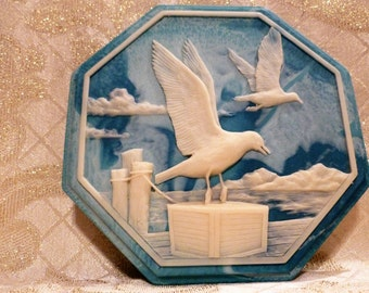 Alabaster Blue and White Intricate Carved Seagull Ocean Design