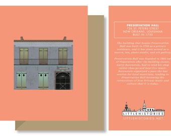 New Orlean Greeting Card, Preservation Hall, Historic Jazz Architecture Louisiana