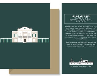 New Orleans Greeting Card, Longue Vue House and Gardens, Architecture Louisiana
