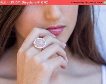rose quartz ring - Statement ring - pink quartz ring - sterling silver ring - rose quartz jewelry - gemstone ring  - gemstone jewelry