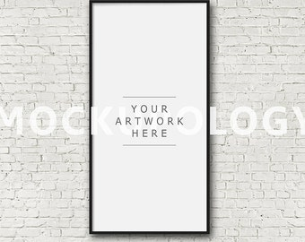 10x20 20x40 vertical digital file frame mockup for instant download styled photography poster mockup white brick background framed art