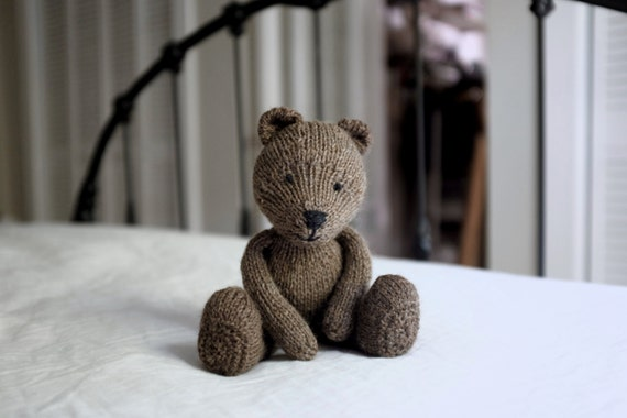 Heirloom Knitted Bear Plush | Stuffed Animal, Soft Toy, Doll | Organic, Natural, Wool, Cotton | OOAK