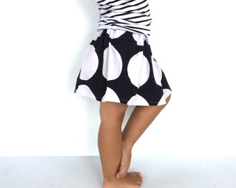 Handmade monochrome dots girls skirt, black and white party skirt for girls,  gathered elastic waist, 100% cotton, classic and modern