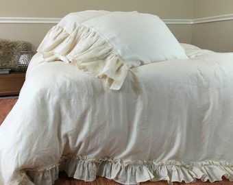 CREAM vintage ruffle duvet cover, shabby chic duvet cover, ruffle bedding, cream bedding