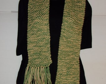 Hand Made Green and Yellow Knitted Scarf