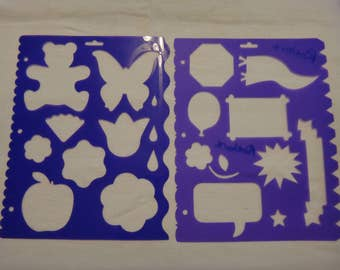 Free Shipping!  2 Memories Forever Stencils - Scrapbooking & Card Making - Butterfly, Teddy Bear, Balloon, Caption, Banner, Edge -SNSR121