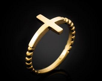 Gold Sideways Cross Ladies Ring (yellow, white, rose gold, 10k, 14k)