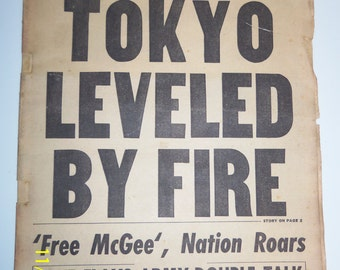 Boston American newspaper dated May 26, 1945: headline Tokyo Leveled by Fire