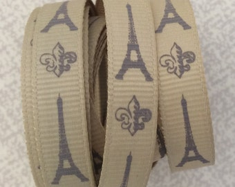 Paris Eiffel Tower French Theme Grosgrain Ribbon