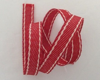 Red Stitched Denim Style Ribbon