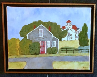 """Kate's oil painting: """"House With the Red Door - Menemsha"""""""