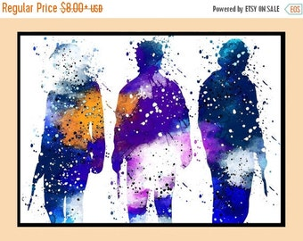 ON SALE 50% OFF Hogwarts Trio, Golden Trio, Harry Potter, Hermione, Ron, Watercolor print, watercolor painting, colorful, for childrens, Pos