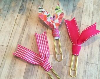 Floral Pink Ribbon Clip Set