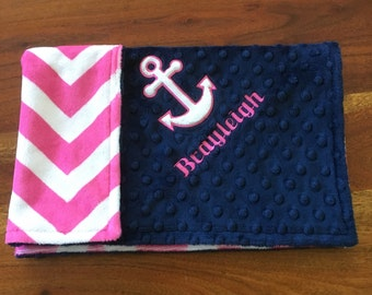 Nautical Anchor Lovey, Nautical Minky Lovey, Double Minky Lovey, Nautical Theme, Nautical Baby Shower, Personalized Lovey