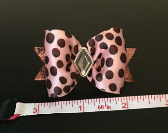 Pink/brown dog bow