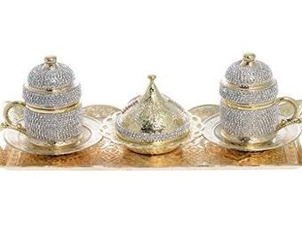 Handmade Copper Turkish Coffee Espresso Serving Set Swarovski Crystal Coated Cup (Upper Crust) (Serve 2 person)