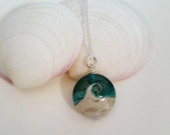 Ocean Wave Pendant - Lampwork Glass Necklace - Beach Inspired - Ocean - Sterling Silver Pendant - Gift for Her - UK Handmade - Artisan Glass
