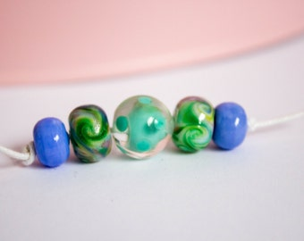 Spring Mini Polka Set - Mini Bead Set - Lampwork Glass - Glass Bead Set - Spring Colours - Encased Beads - Polka Dot - UK Artisan Handmade