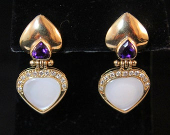 Estate 14K Yellow Gold Diamonds Amethysts Mother of Pearl Omega Back Earrings 11.7 Grams Weddidng Fast Shipping