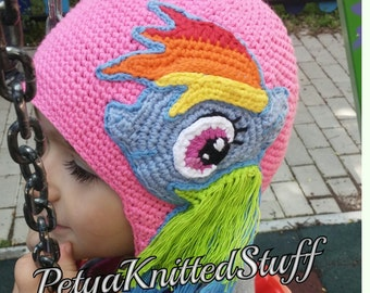 Rainbow Dash hat, My Little Pony hat,My little Pony crochet hat with appliques , My Little Pony Costume, MLP Rainbow Dash Hat, MLP Costume