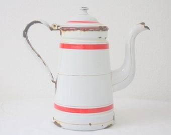 Vintage French Enamel Tea/Coffee Pot, White with Red Accents, Kitchen Decor