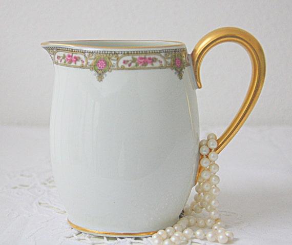 Lovely Antique Limoges Porcelain Creamer, Pink and Green Flower Pattern, France