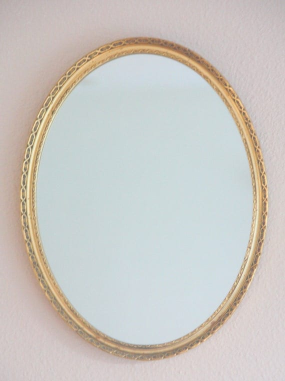 Vintage Gilded Wooden Frame Hanging Mirror, Home Decoration