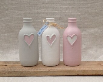 3 Heart Painted Bud Vases / Bottles: Eco Friendly Handpainted 3D