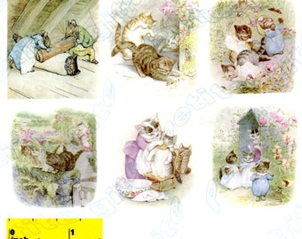 Miniature Beatrix Potter Tom Kitten Picture  Prints - Dollhouse 1:12 scale