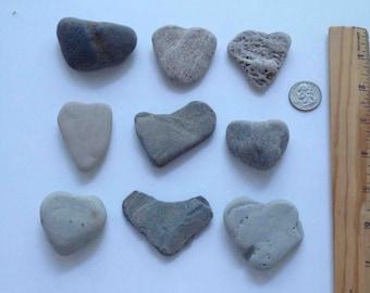 Heart Shaped Rocks ~ Lake Michigan Beach Rocks ~ set of 9 small Heart rocks