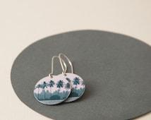 Tropical Disc Earrings - medium reversible tree dangle earrings - Palm Tree