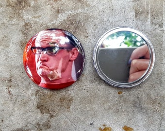 Artie Pete and Pete 2.25 inch 58MM purse pocket hand button mirror