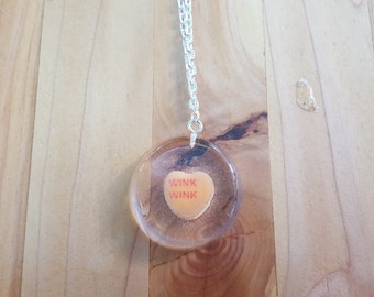 Necklace Conversation Heart Pendant Casted Candy in Resin Valentine's Day Wink Wink Orange Sweetheart