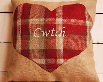 Cwtch, Cariad, Cwtsh cushion - Welsh speaking, welsh, Wales, rustic, chic, heart cushion can be personalised all words available