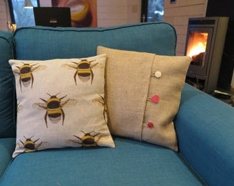 Bumble Bee Cushion, bee cushion, bee and burlap, bee and hessian, hessian cushion cover, burlap cushion cover, nature, natural, neutral