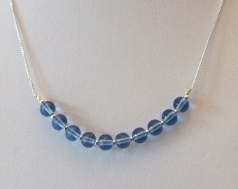 Blue Glass and Sterling Silver Necklace