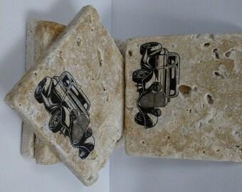 4 x 4 Travertine Stone Coasters/Art Decor (Set of 4) - Vintage Cars