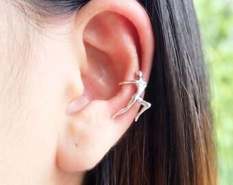 Gymnastic Human Ear Cuff, 925 Sterling Silver, Ear cuff non pierced, Climbing ear cuff - MI.22/EC058